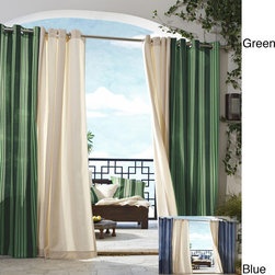 None - Gazebo Outdoor Stripe Panel 84 inch Indoor/ Outdoor Curtain Panel - Gazebo panels are Ourdoor / Indoor weather proof panels. This gazebo striped window panel features a polyester construction for indoor and outdoor use. The contemporary pattern is available in your choice of blue or green to match any design.