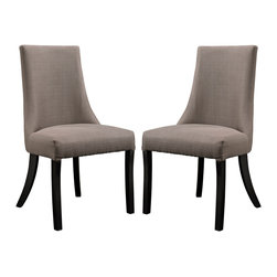 Modway - Reverie Dining Side Chair Set of 2 EEI-1297 Gray - Dream effortlessly among sweeping curves and a gentle finesse reminiscent of bygone eras. The Reverie dining chair will bestow elegance to your dining scene, while speaking volumes in a soft and silent way. The durable parawood legs and dense foam padding make for a sturdy addition that will help imbue your decor with a sense of ease and pleasant calm.