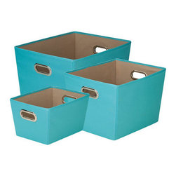 Honey Can DO - Turquoise Storage Bin, Set of 3 - Designed to hold everything from books to toys to bathroom essentials, this turquoise set of 3 storage bins add plenty of extra storage and a pop of color to any room. Great for car trunks, kids rooms, closets, shelving units, and more.