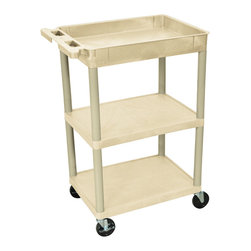 """Luxor - Luxor Tub Cart - STC122-P - These Luxor STC series utility carts are made of high density polyethylene structural foam molded plastic shelves and legs that won't stain, scratch, dent or rust. Features a retaining lip around the back and sides of flat shelves. Includes four heavy duty 4"""" casters, two with brake. Has a push handle molded into the top shelf."""