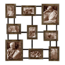 Wall Hanging Photo Frame Collage - *Create a collage of your favorite photos with this hanging photo collage made of hand forged metal finished in dark burnished wash with silver undertones and aged black details.