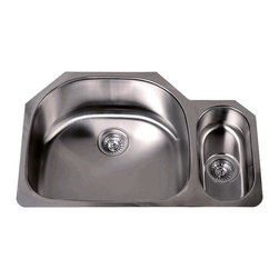"""TCS Home Supplies - 32 Inch Stainless Steel Undermount Double D-Bowl Offset Kitchen Sink - 16 Gauge - Premium 16 Gauge Stainless Steel Kitchen Sink.  D-Bowl with Small Garbage Disposal Side Bowl.  Undermount Installation.  Brushed Stainless Steel Finish.  Dimensions 32"""" x 21-1/4"""" x 9"""" 