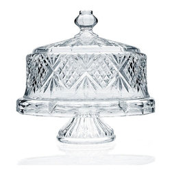 """Godinger Silver - Dublin Crystal Footed Cake Dome - A most dramatic piece, the Dublin footed cake plate and dome is ideal to use for all your baking triumphs. This lovely crystal cake stand on pedestal, with its distinctive cutting, is a perfect way to show off your most elaborate Christmas cake. Keep the contents fresh with the crystal cake dome by Godinger Silver while entertaining in an elegant and appropriate fashion. This 4 in 1 Cake Stand with Dome can be used as an exquisite table centerpiece, punch bowl and even chip n' dip.  * Dimensions: 12"""" Tall. diameter: 12.5"""""""