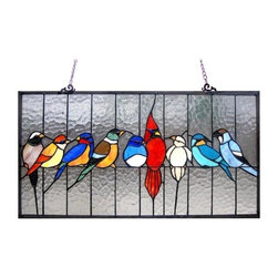 Chloe Lighting - Birds in the Cage Stained Glass Window Panel - Designed with stained glass in purple, blue, green and red tones. Window panel has one chain with one connect on each side. Metal frame. UL approved. 24.5 in. W x 13 in. H (8.6 lbs.)A festival of birds are featured: blue jay, songbird, woodpecker, cardinal, finch, tanager, king fisher, dove, sparrow and the one in the middle is the blue bird of happiness, said to bring happiness, cheerfulness, prosperity, hearth and home, good health, new births, the renewal of springtime. This piece would be a heartfelt gift to anyone. The background glass is made of ripples; a wonderful way to enjoy the morning sun! The stained glass panel is crafted with 139 pieces of glass and 8 cabochons. For indoor use only. No assembly required.