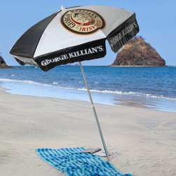 Killians Irish Red 6 ft. Beach Umbrella - The Killian's Irish Red 6 ft. Beach Umbrella keeps everything protected from the sun - you your friends and your beverage of choice. This beach-pole umbrella features the official Killian's Irish Red logo on a durable vinyl shade. As far as the frame it's made from the latest in aluminum construction with a 1.5-inch pole and three points of tilt articulation. A sturdy six-ribbed undercarriage supports the canopy and it's tough enough to hold up all season long. The aluminum pole with a push-button tilt feature allows the umbrella to tilt to follow the sun's course. The beach pole allows the staked bottom pole to be easily pushed into the sand for stability.