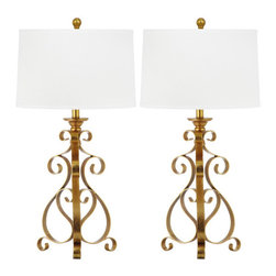 Safavieh - Scroll Sculpture Table Lamp ZMT-LIT4306A (Set of 2) - Delightful curves in gleaming antique gold metal imbue the elegant Scroll Sculpture table lamps a romantic ambiance. This artistically wrought transitional design is accented with a crisp white cotton textured drum shade. (Sold in set of 2).