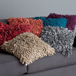 Jersey Shag Pillow Cover - You might be scared of shag carpet, but don't be scared of a shag pillow. Fun, bright and saturated with color, these just might make your lazy Sunday that much more enjoyable.