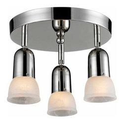 Z-Lite - Z-Lite 223 Pria Three-Light Flush Mount Ceiling Fixture - The Pria family�s clean lines will not only blend in with modern and traditional styling, but also they are very versatile. These 3 Light Semi Flush Mount Light can accommodate any room or closet. The individual lights are directional. The white swirl shades are paired with chrome finish.Specifications: