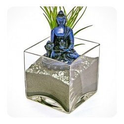 "luludi living frames - Luludi Living Frames Buddha Cobalt - Peace comes from within. Do not seek it without. "" buddha, our buddha terrariums are unique living frames thatwill help balance your mind with peaceful thoughts and inspire you on a meditation path to enlightenment. Place them in central areas of your home or office for daily inspiration to achieve peace and good life. , also available in the following buddha colors:, black, cobalt(shown with black sand, pebbles and air plant), sienna, umber, available as shown or may be custom-tailored:, contact us for alternate sand color and pebble combinations available, dimensions: 4"" height x 4"" width x 4"" length, weight (approx): 3 lbs, buddha statues made of resin, buddha meditation poses may vary, our terrariums are unique landscapes so finished pieces may vary, Suggestion for care:, no direct sun required, moss requires no care if it becomes dry and brittle mist with water, mist once per week remove air plant first, mist and allow to dry before replacing in terrarium, upon receipt soak air plant in bowl of water for 30 minutes, allow to dry then place plant in terrarium"