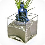 """luludi living frames - Luludi Living Frames Buddha Cobalt - Peace comes from within. Do not seek it without. """" buddha, our buddha terrariums are unique living frames thatwill help balance your mind with peaceful thoughts and inspire you on a meditation path to enlightenment. Place them in central areas of your home or office for daily inspiration to achieve peace and good life. , also available in the following buddha colors:, black, cobalt(shown with black sand, pebbles and air plant), sienna, umber, available as shown or may be custom-tailored:, contact us for alternate sand color and pebble combinations available, dimensions: 4"""" height x 4"""" width x 4"""" length, weight (approx): 3 lbs, buddha statues made of resin, buddha meditation poses may vary, our terrariums are unique landscapes so finished pieces may vary, Suggestion for care:, no direct sun required, moss requires no care if it becomes dry and brittle mist with water, mist once per week remove air plant first, mist and allow to dry before replacing in terrarium, upon receipt soak air plant in bowl of water for 30 minutes, allow to dry then place plant in terrarium"""