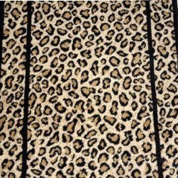 "Dean Flooring Company - Dean Cheetah Carpet Rug Hallway Stair Runner - Sold by the Foot - Dean Cheetah Carpet Rug Hallway Stair Runner - Custom Lengths - Purchase by the Linear Foot : This runner is sold here by the linear foot. One unit of quantity when you checkout equals one foot of length on your runner. To order more than one runner, you must place separate orders. Width - Approximately 26"". These beautiful carpet runners match our Dean Flooring Company stair treads. This item will be finished (serged with color matching yarn) on all four sides regardless of the length. It is made from polypropylene with a woven backing. This runner is great for hallways, staircases, or as an accent rug."