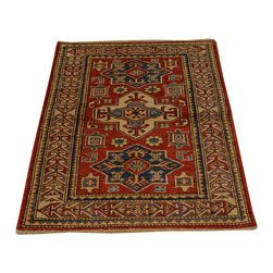 1800-Get-A-Rug - Hand Knotted Red Super Kazak Medallion Design 100% Wool Rug Sh16699 - Our Tribal & Geometric hand knotted rug collection, consists of classic rugs woven with geometric patterns based on traditional tribal motifs. You will find Kazak rugs and flat-woven Kilims with centuries-old classic Turkish, Persian, Caucasian and Armenian patterns. The collection also includes the antique, finely-woven Serapi Heriz, the Mamluk Afghan, and the traditional village Persian rug.