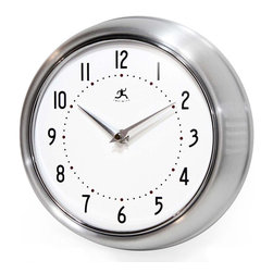 Infinity Instruments, Ltd. - Infinity Instruments Retro Iron Wall Clock, Silver - Infinity Instruments Retro Wall Clock collection has been a staple in the interior design/wall décor accessories for well over a decade.  It has proven the test of time with a clean retro look that fits most, if not all, home décor layouts. There have been many copy cats but there is only one true  Retro Iron Wall Clock.