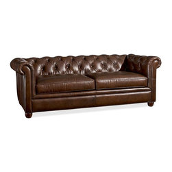 Chesterfield Leather Upholstered Grand Sofa, Leather Cocoa - This leather chesterfield