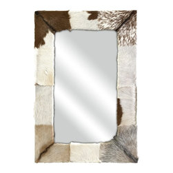 Animal Hide Wall Mirror Lodge Cabin Decor - *The natural splendor and exotic nature of animal hide brings the beauty of the beast into your home with the Pacino animal hide wall mirror.