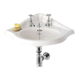 Whitehaus Collection - Whitehaus AR884 White Single Bowl Porcelain Corner Bathroom Wash Basin - The white single bowl porcelain corner bathroom wash basin by Whitehouse combines a classic and timeless style in corner of your bathroom. This sink perfectly fits bathroom or any size with its D shaped bowl. Combination of classic beauty and pleasing lines offers compliments to wide range of bathroom decors and styles.