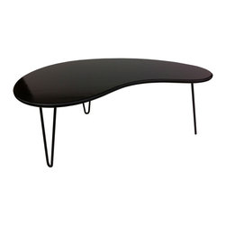 Black Bean Coffee Table - The graceful Black Bean Coffee Table was inspired by the modular designs of the mid-century modern era. Featuring smooth curves and sleek contours, the table also uses the best of contemporary materials. Organic bamboo balances on elegant steel hairpin legs for a striking look. Handmade in Idaho.