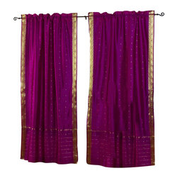 Indian Selections - Pair of Violet Red Rod Pocket Sheer Sari Curtains, 80 X 96 In. - Size of each curtain: 80 Inches wide X 96 Inches drop. Sizing Note: The curtain has a seam in the middle to allow for the wider length