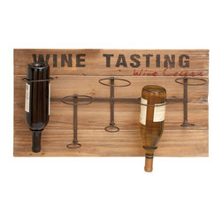 Benzara - Iron Wood Metal Wine Rack 26in.W, 15in.H - Size: 26 in. x4 in. x15 in.  Made with iron alloy and reclaimed wood