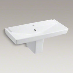 """KOHLER - KOHLER R�ve(R) 39"""" semi-pedestal bathroom sink with single faucet hole - With geometric lines and a generous 39-inch width, the R�ve semi-pedestal sink makes a striking focal point for your bathroom. This deep, V-shaped basin and rectangular shroud yield a sink that is both practical and brimming with dramatic style."""