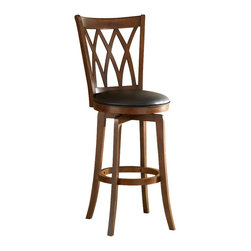 Hillsdale Furniture - Mansfield Collection Swivel Barstool w Criss - For residential use. Criss-Cross design. Swivel seat. Brown Cherry Finish. Black Faux Leather seat. 18.25 in. W x 21.5 in. D x 46.75 in. H. Seat Height: 30 in. HThe Mansfield stool with it's criss-cross design, brown cherry finish and black faux leather seat offers a transitional flare.