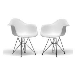 Wholesale Interiors - Dario White Molded Plastic Chairs, Set of 2 - This versatile, contemporary chair is a barebones take on the shape of an armchair. The seat is made from a very heavy-duty, strong plastic with a matte finish and is supported by an equally strong steel base, which is covered with a layer of high-shine chrome. Four black feet are included to protect hardwood flooring. Very up-to-date, your inner sense of style will revel in the trendiness of this chair. Assembly is required. Set of 2