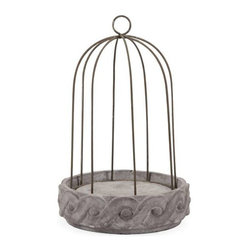 Theobald Short Wire Cloche and Base - Filled with beautiful florals or small aviary accents, the Theobald small wire cloche adds rustic elegance and personality to any home.