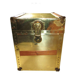 Small Brass Trunk with Wood Strap Detailing - $275 Est. Retail - $200 on Chairis -