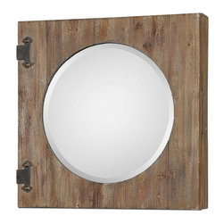 Uttermost - Gualdo Aged Wood Mirror Cabinet - Aged wood with a light ivory wash and rustic, olive bronze details.
