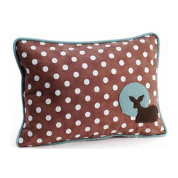 Pillow Decor - Pillow Decor - Fawn Polka Dot Decorative Throw Pillow - One of three delightful pillows in Grand Family Living's 'Forest Baby' collection. This charming childrens pillow will liven up any nursery or add a splash of fun to a nature loving girls room.