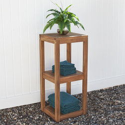 Three Tier Teak Tower - Store towels or even display plants on this beautiful Three Tier Teak Tower. Perfect for indoor or outdoor use, this towel tower is made of teak wood and features two spacious shelves.