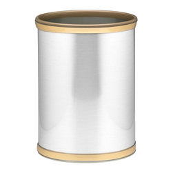 Kraftware - Mylar Wastebasket in Brushed Chrome and Brass - 0.75 in. brushed brass band with gold bumper. Made in USA. 10 in. Dia. x 12 in. H (1.5 lbs.)Kraftware's Mylars bring the look of metal at vinyl prices. Great value, great looks and great entertaining sum up the Mylar collection.