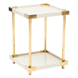 High Fashion Home Product 1 - The Brielle End Table is the definition of glamorous thanks to it's ivory lacquered finish and metal accents in a patinated brass finish.