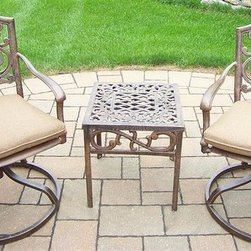 Oakland Living - 3-Pc Outdoor Rocker Set - Includes one end table, two cushioned swivel rockers and metal hardware. Fade, chip and crack resistant. Lightweight. Hardened powder coat. Warranty: One year limited. Made from rust free cast aluminum. Traditional lattice pattern and scroll work. Handcasted. Antique bronze finish. Minimal assembly required. End table: 17.5 in. W x 17.5 in. D x 19 in. H (15 lbs.). Rocker: 23 in. W x 17.5 in. D x 38 in. H (33 lbs.). Overall weight: 55 lbs.This rocker set will be a beautiful addition to your patio, balcony or outdoor entertainment area. Our swivel rocker sets are perfect for any small space, or to accent a larger space. We recommend that the products be covered to protect them when not in use. To preserve the beauty and finish of the metal products, we recommend applying an epoxy clear coat once a year. However, because of the nature of iron it will eventually rust when exposed to the elements. The Oakland Mississippi Collection combines southern style and modern designs giving you a rich addition to any outdoor setting.