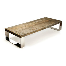 Darren Contemporary Reclaimed Wood Steel Coffee Table - This Darren is handsome, earthy and contemporary. In other words, he's Mr. Right for just about any modern mix from industrial lofts to midcentury apartments or even the most sophisticated lodges or cabins.