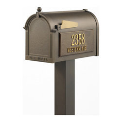 Whitehall Products LLC - Premium Mailbox Package - Bronze - Premium Mailbox Package - Bronze - Includes: Capital Mailbox Standard Post Personalized Side Plaques