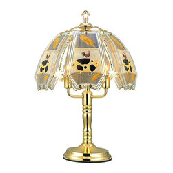 ORE International - Touch Lamp w Brushed Gold Base - Three way reliable touch sensor control. Requires three 25 watt bulbs. Low, medium, high and off paces. Polarized plug for added safety. Tinted glass shade. 30 days warranty. 14. 5 in. Dia. x 23.5 in. H (5 lbs.)Add a touch of light to your living spaces with this 3-way touch lamp. Adjust the light you need with just a touch of your hand. No more trying to find the switch in a dark room, this lamp is always ready for your touch. Simply touch any metal surface and you will put this lamp through its paces. Use a single level light bulb, no need to use a 3-way bulb.