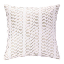 Cococozy - COCOCOZY Loop Taupe Embroidered Pillow - Fresh and stylish, COCOCOZY's colorful collection of designer accessories excite in the contemporary home. The Loop throw pillow's lively graphic pattern lends spirit and texture to a living room or bedroom. Sophisticated in white, the modern linen accent