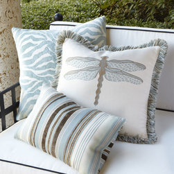 Aqua Outdoor Pillows by Elaine Smith - Yes, they're really safe for outdoor use. These gorgeous pillows from designer Elaine Smith are crafted of Sunbrella® fabric, so go ahead; enjoy them wherever you please.