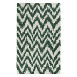 Surya Rugs - Frontier Juniper/Winter White Zig Zag Rug Size: 5' x 8' - 100% Wool. Rugs Size: 5' x 8'. Note: Image may vary from actual size mentioned.