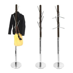 LumiSource - Hang It Coat Tree, Espresso - This unique coat rack offers a modern look of wood and chrome that creates a functional storage piece that offers a great way to hang your belongings and add style to your home. The hooks can double as hangers for your outerwear. You can also modify the layout of the interchangeable hooks for ease of use.