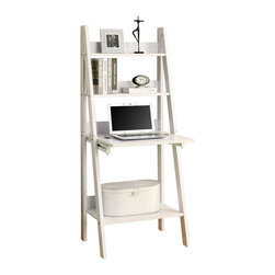 Monarch Specialties - Monarch Specialties 7040 61 Inch Ladder Bookcase in Cappuccino - This multifunctional bookcase-desk offers a compact work space that is ideal for apartments, condos, or small homes. With clean lines in a bold white finish, this desk will blend easily with your home decor. The top ladder style shelves can be used to display picture and decorative pieces, while the drawer-like area can be dropped down into a desk. Add this bookcase- desk to your home for a functional workstation, where ample storage options, excellent functional features, and sophisticated style come together.