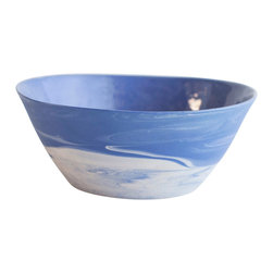 Haand - Cloudware Bowl, Blue and White Swirl, Large - Inspired equally by historic Wedgwood Jasperware and the sky in North Carolina. Each bowl is unique, reflecting the swirling of the two colored slips mixing in the mold. We glaze the inside and then polish the unglazed outside of each piece by hand with a diamond pad.