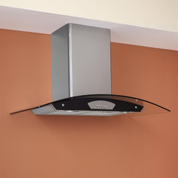 """36"""" Casa 2200 Series Stainless Steel Black Wall-Mount Range Hood - 600 CFM Panel - This kitchen range hood featuring a black panel is a great statement piece for your upscale kitchen. Featuring dishwasher safe filters, two halogen lights and a telescoping flue, this kitchen exhaust fan is functional and stylish."""