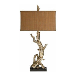 Sterling Lighting - Driftwood Lamp in Black & Metallic White Finish - Simple yet elegantly made lampshade. Rectangular shape and brown shades. Driftwood design for the lampshade pole. Flat rectangular base supports the lampshade. Use as a home decor. Made of fabric and composite material. Black and Metallic White finish. 18 in. L x 9 in. W x 34.75 in. H (9 lbs.)