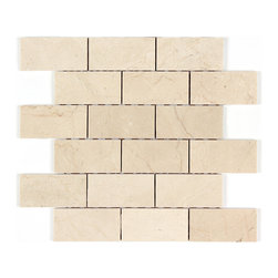 Stone & Co - Crema Marfil Polished Marble 2x4 Brick Mosaic - Finish: Polished