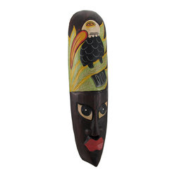 Zeckos - African Jungle Toucan Mask Wall Hanging Africa Decor - Made in Indonesia, this African mask wall hanging is hand-carved from dark Albesia wood. Measuring 19 inches tall, 5 inches wide and 2 inches deep, it looks great on walls in patios, outdoor tiki bars or any other jungle themed room. It features a hand-painted toucan and jungle foliage on the top. This wall mask makes a great gift for friends and family. NOTE: Since these masks are hand carved and hand painted, there may be slight color or facial differences from the pictures. These won`t last long, so get yours now