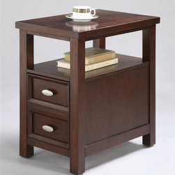 Asia Direct Home - Side Table in Cherry Finish - One drawer. Two door knobs. Made from wood. No assembly required. 12 in. W x 24 in. D x 24 in. H
