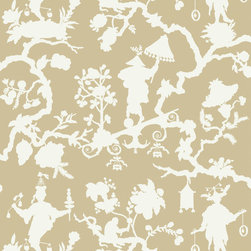 """Schumacher - Shantung Silhouette Print Wallpaper, Sand - Schumacher's classic chinoiserie design, """"The Jugglers,"""" is the inspiration for this screen printed wall-covering. By keeping the solid background of the original and eliminating its detail, the pattern has been transformed into a modern silhouette which is printed in both soft and bold shades. The traditional motifs of exotic figures and foliage create a fanciful look that adds an element of decorative whimsy to traditional and modern interiors."""