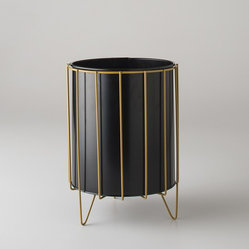 Wire Framed Trash Bin, Marigold
